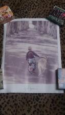 SHADY LANE Young Boy walking Dog - POSTER 1989 by Gail Goodwin Portal Pub.