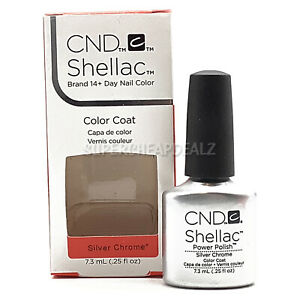 CND Shellac Color Coat - Silver Chrome - 7.3 ml / 0.25 oz NIB AUTHENTIC