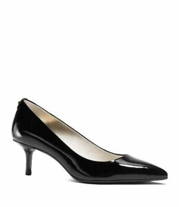 Michael Kors MK Flex Patent-leather Pointed-Toe Kitten Heel Dress Pumps Black  9