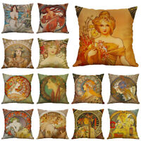 18'' Alphonse Maria Mucha Painting Cushion Cover Woman Pattern Pillow Case Cover