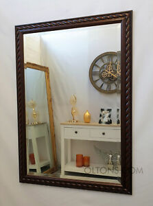 Mahogany Bevelled Edge Quality Wall Mirror Solid Wood Frame 72x104cm (28x41inch)