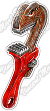 "Angry Pipe Wrench Plumbing Plumber Tool Car Bumper Vinyl Sticker Decal 3""X6"""