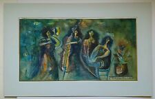 Schwartz 4 MUSICIANS Signed Watercolor Painting Modern Israel Romania Art Jewish