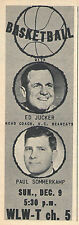 1962 tv ad ~ ED JUCKER Cincinnati Bearcats Basketball/Announcer PAUL SOMMERKAMP