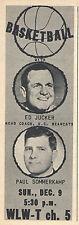 1962 tv ad ~ ED JUCKER Cincinnati Bearcats Basketball/Announcer PAUL SOMMERKAMP