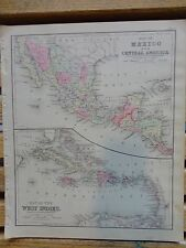 Nice colored map of Mexico & C. Amer. Warren's 1884 pub. by Cowperthwait & Co.