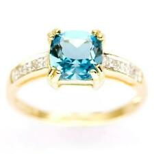Cushion Solitaire with Accents Yellow Gold Fine Rings