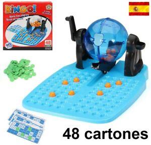 Bingo de bombo manual 90 bolas números 48 cartones juego de mesa familiar