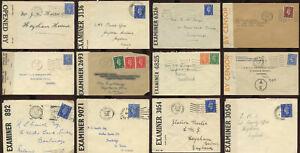 WW2 CENSORED ENVELOPES GB N.IRELAND SCOTLAND USA INDIA etc ...EACH PRICED