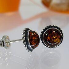 A196 Ohrringe Retro Style 925 Sterling Silber Schmuck baltischer Bernstein Amber