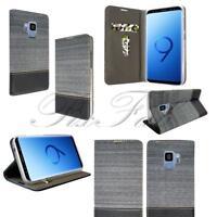 NUEVO AZUL ROSA Jean Cartera De Cuero Funda para teléfono Samsung Galaxy S9