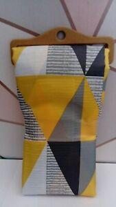 Ochre Yellow Grey Geometric Shower Curtain 180cm NEW