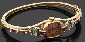 Blancpain antique 14K gold 1.48CTW VS1/G diamond/ruby watch bangle bracelet