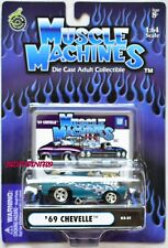 MUSCLE MACHINES '69 CHEVELLE 03-21 BLUE 1:64 SCALE W+