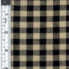 "100% Cotton Fabric BTY 45"" Rustic Homespun 1/4"" Black and Cream Check"
