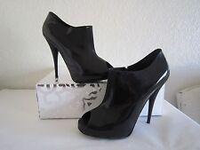 FENDI Patent Leather Black Peep Toe High Heel Platform Ankle Booties Sz 10 $695