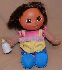 "13"" Dora The Explorer Girls Plush Dolls Toys Talking Let's Feed The Baby Talks"