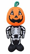 Halloween Air Blown Inflatable Yard Blowup Decoration Pumpkin Head Skeleton body