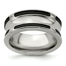 Edward Mirell Titanium & Steel Cable 10mm Concave Wedding Band Sizes 8 to 13