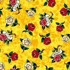 Love Is True Ed Hardy Tossed Tattoo Rose Mottled Lemon Cotton Fabric Fat Quarter