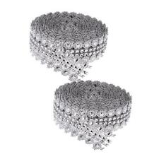 2pcs 5 Yards Crystal Flower Rhinestone Chain Ribbon Trim DIY Sewing Applique