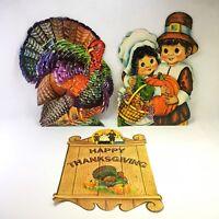 Lot of 3 Vtg 1970s Thanksgiving Turkey Pilgrims Cardboard Paper Decorations