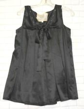 For Love and Liberty Small Black Silk Square Neck Pleated Sleeveless Top