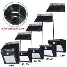 6-28 LED Solaire Lampe Mural Capteur Détecteur PIR Mouvement Etanche Extérieur