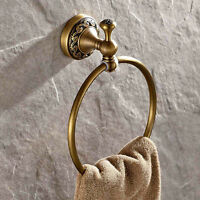 Antique Solid Brass Bathroom Towel Ring Holder Wall Mount Round Clothes Hanger