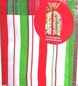 """Red & Green Cello Bags, 20 Bags - 4"""" x 9"""" Christmas Party Favor Sweets 5y Ribbon"""