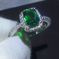 2Ct Cushion Cut Green Emerald Diamond Halo Engagement Ring 14K White Gold Finish