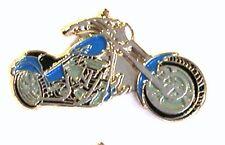 CHOPPER - LAPEL PIN BADGE - BLUE MOTORBIKE HELLS ANGELS RIDER BIKER  (DB-36)