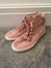 John Lewis Girls Jess Star Hi Top Taupe Shoes UK 2 Brand New RRP £22