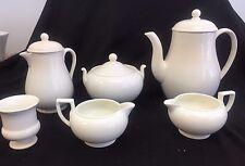 WEDGWOOD ETRURIA WHITE TEA COFFEE SERVICE SET ENGLAND 6 PIECES