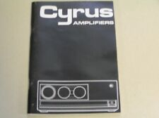 MISSION CYRUS AMPLIFIER OWNERS MANUAL for CYRUS 1, 2 and PSX.62 PAGES