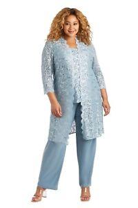 R&M Richards Plus size Women's Lace ITY 3 Piece Pant Suit - Mother of the bride