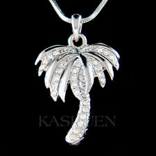 w Swarovski Crystal Palm Tree Coconut Beach Wedding Hawaii Tropical Necklace New