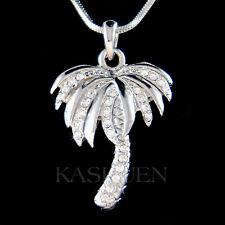 w Swarovski Crystal Palm Tree Coconut Beach Wedding Hawaii Tropical Necklace New
