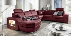 Vesuvio Corner Sofa With Sleep Function Bed Box LED Couch Set Faux Leather