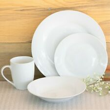 Beautiful 32-Pc Round Dinnerware Set, Dinner Plates Bowls and Mugs, White Dishes