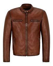 RACER Mens Leather Jacket Dark Saddle Classic Bikers Fashion Real Leather Jacket