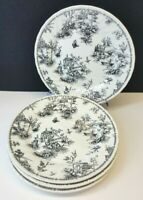 """Set/4 Churchill China """"Toille Black"""" Charcoal 10"""" Dinner Plates Made in England"""