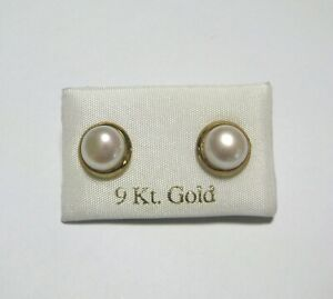 10mm 9ct gold white freshwater pearl rubover stud earrings