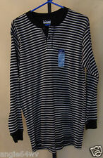 Basic Editions Mens Black & Gray Striped Henley Sweater Shirt Medium NWT 356