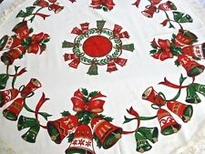 """VINTAGE TABLECLOTH CHRISTMAS NWT BELLS ROUND 68"""" JAPAN UNUSED NEW GOLD RED GREEN"""