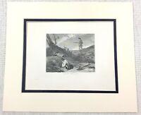 1843 Antico Stampa Coniglio Tiro Paese Attività SPORTS Caccia Vecchio Incisione