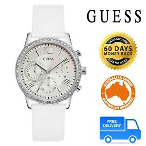 Guess Solar Ladies White Silver Crystal Accent Dress Watch W1135L7 New Authentic