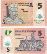 Nigeria 5 Naira 2015 P-38e NEUF UNC Uncirculated Polymer Banknote Billet