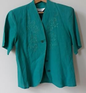 Ladies green Sensations embroidered short sleeved blouse - size 12