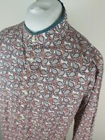 Mens Pretty Green Paisley Floral Kaftan Shirt Red Large 44 Chest Grandad collar